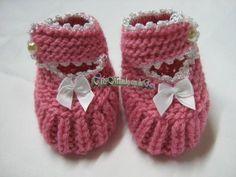 Sapatinho de Bebê em tricô com lã