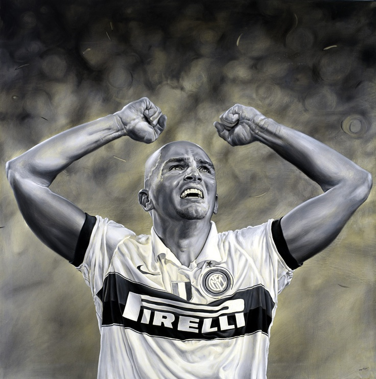Esteban Cambiasso - La notte di Barcelona - Inter, Champions League 2010 - Artwork by artist Andrea Del Pesco Oil painting on canvas, size cm. 100x100