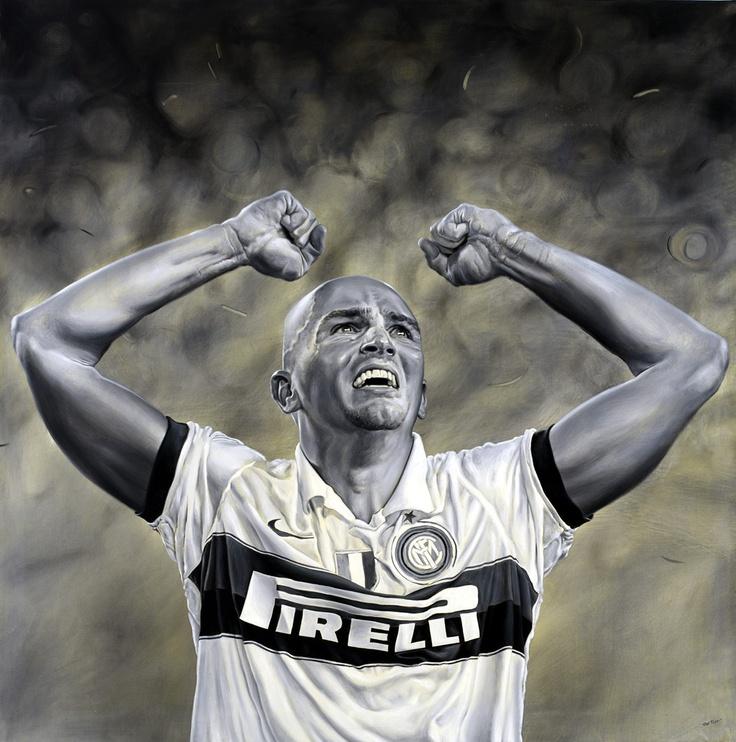 Esteban Cambiasso - La notte di Barcelona - Inter, Champions League 2010 - Artwork by artist Andrea Del Pesco Oil painting on canvas, size cm. 100x100