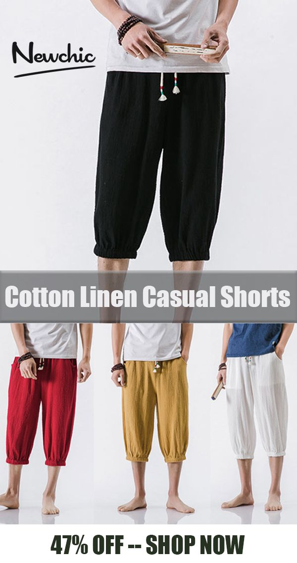 9a2f2f522 【US$26.05】Mens Breathable Cotton Linen Loose Drawstring Shorts#casual #style  #linen #shorts
