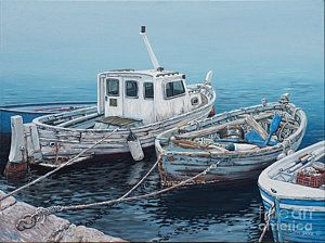 Row Boat Painting - Little Med Boats by Danielle  Perry
