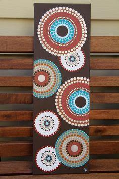 Urbano, arte aborigen, arte de acrílico moderna, pintura abstracta, pintura de acrílico, arte de punto, Boho arte, regalo, Arte Original, pintado a mano