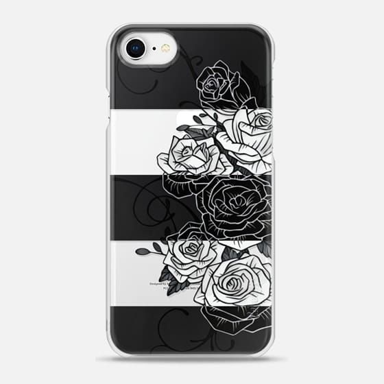 Casetify iPhone 8 Snap Case - Inverted Roses - Transparent by Nicklas Gustafsson #roses #rose #flower #swirls #blackandwhite #striped #stripes #inverted #casetify #iphone #case #transparent #clear
