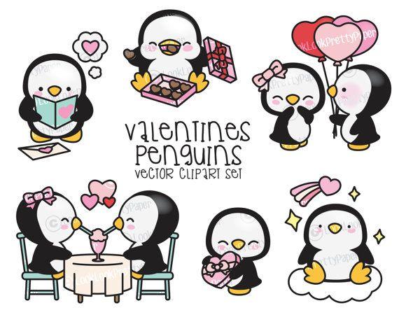Premium Vector Clipart - pingüinos Kawaii San Valentín - día de San Valentín pingüinos gráfico juego - alta calidad vectores Clipart de lindo día de San Valentín