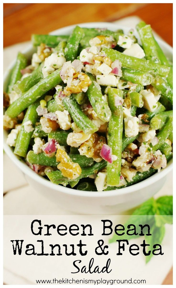 Fresh GreenBean, Walnut, and Feta Cheese Salad  dressed with olive oil and fresh mint vinaigrette . It may sound bizarre, but it's one am...
