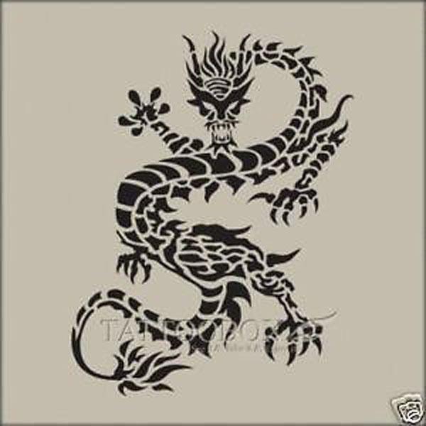... airbrush temporary tattoo stencils - Dragon 4 (Medium size)   eBay