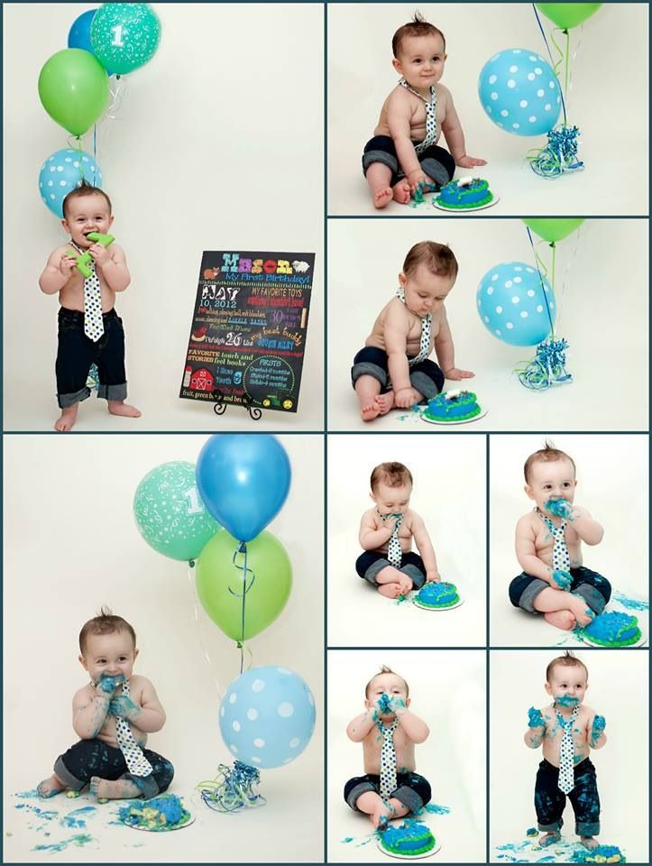Cake Smash First Birthday Baby Boy Party One Year Old Blue Green Balloons