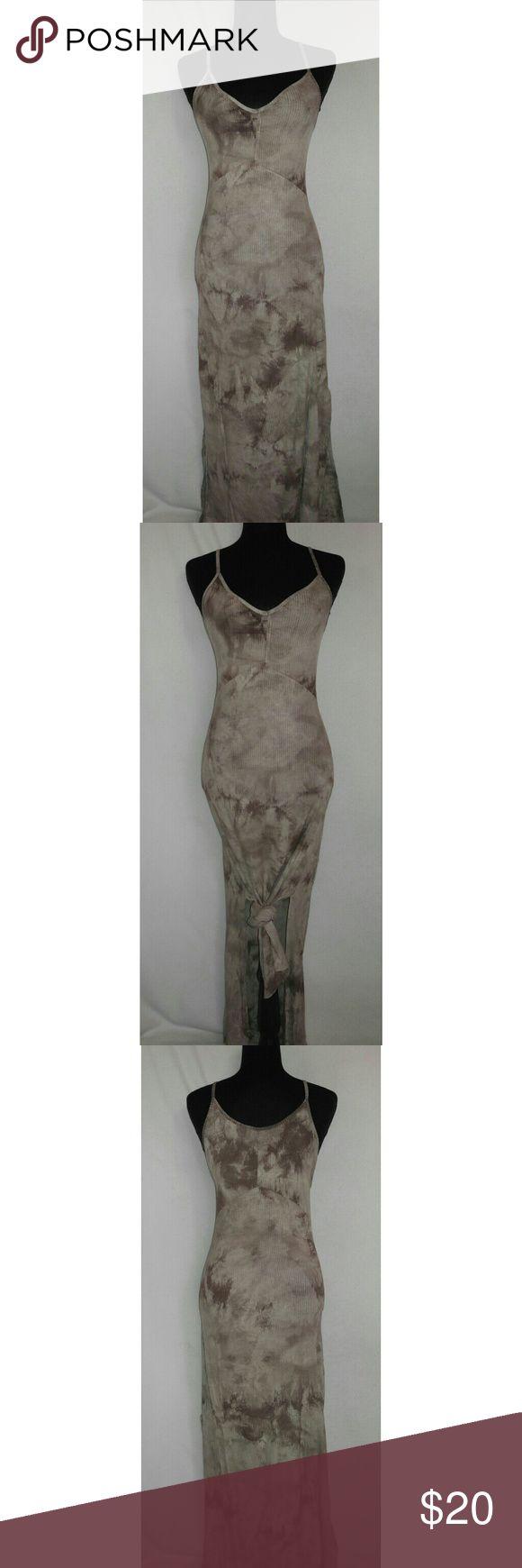 Tan Tie Dye Spaghetti Strap Dress Tan Tie Dye Spaghetti Strap Dress with Rayon and spandex material. 2 splits. Dresses Maxi