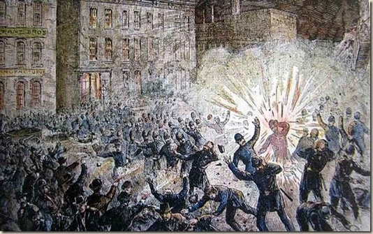 MAY DAY: The Haymarket affair (also known as the Haymarket massacre or Haymarket riot)   was the aftermath of a bombing that took place at what began as a peaceful labor   rally on Tuesday May 4, 1886, at Haymarket Square in Chicago. Workers were   striking for an eight-hour work day when an unknown person threw a dynamite   bomb at police as they tried to disperse the demonstration. The bomb and   resulting gunfire left seven police officers and at least four civilians dead,   and many…