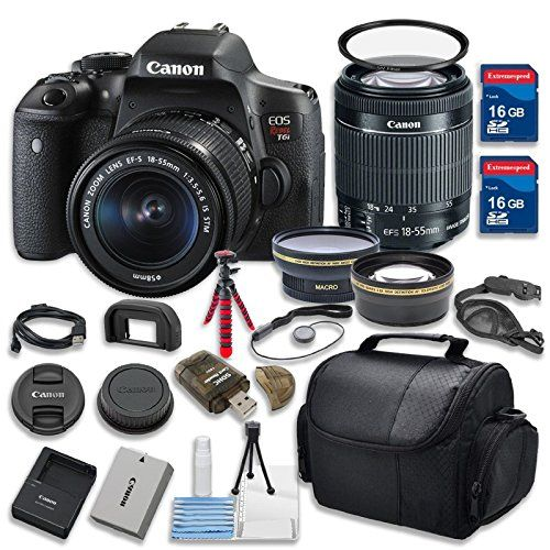 Canon EOS Rebel T6i 24.2MP WiFi Enabled Digital SLR Camera Bundle with EF-S 18-55mm f/3.5-5.6 IS STM Zoom Lens and 14-Piece Celltime Stater Kit - International Version