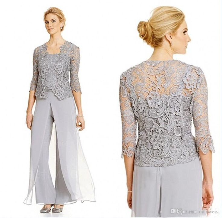 Silver Plus Size Mother Of Bride Pant Suit With Lace