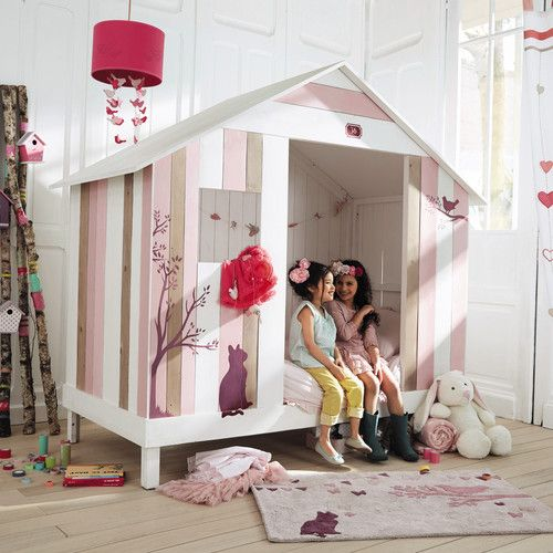 Lit cabane enfant 90 x 190 cm en bois rose et blanc