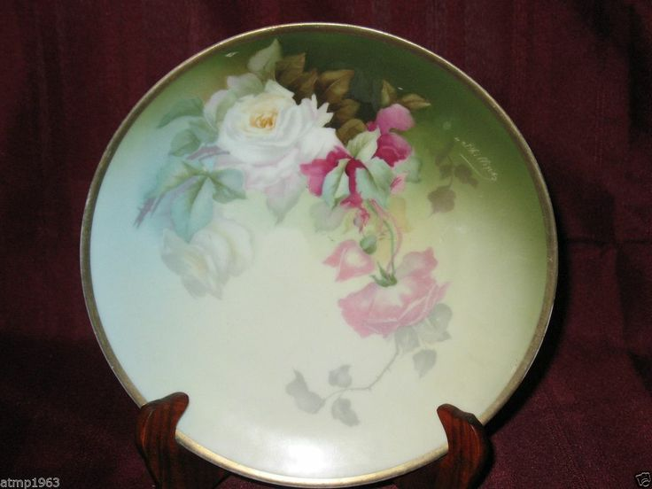 Thomas Bavaria Hand Painted Rose 8 1 2 Quot Plate With Gold