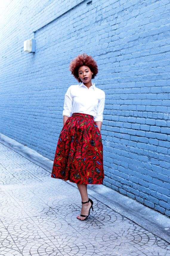 African Print Midi Skirt by MelangeMode on Etsy
