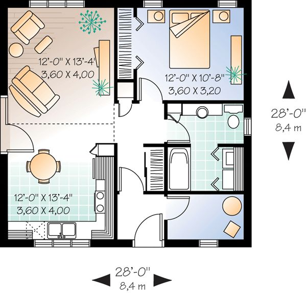 Small Cabin Floor Plan With An Open Loft Upstairs Is