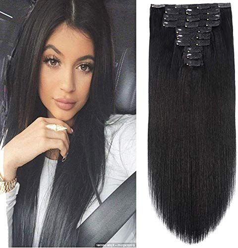 New 22 Clip Human Hair Extensions Full Head 200g 10 Pieces 22 Clips 1# Jet Black Double Weft Brazilian Real Remy Hair Extensions Thick Straight Silky (22 ,200g Jet Black) online shopping