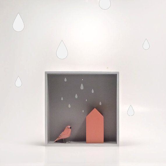 Display Box Shelf, plywood floating geometric shelf, the small treasures box, kids room decor