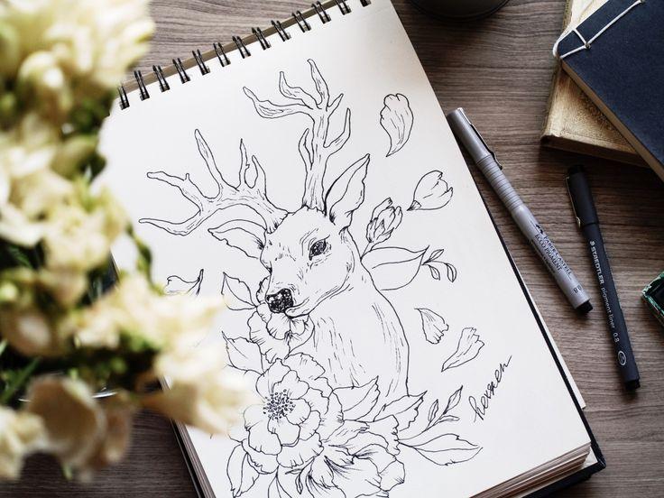 Armata di blocco da disegno, matite e pennarelli ho deciso di condividere con te il mio piccolo processo creativo.