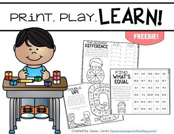 Here are three FREE print and play math games for you to use with your students. These are fun, partner games that can be printed and are ready to play with a couple dice, a paperclip, and crayons! I made them with both the teacher and my students in mind!