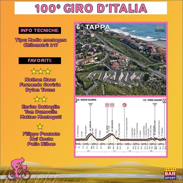 🚲🚲 #GirodItalia 2017 - #Preview: 6° tappa (#ReggioCalabria-#TermeLuigiane) 🚲🚲 Salutata la Sicilia, il #Giro100 comincia la sua salita verso nord, partendo, ovviamente, ancora da una località del sud Italia. La tappa mista di domani, con un finale pieno di piccole rampe al 6/7%, offrirà parecchi spunti per i corridori abituati alle classiche, quindi aspettiamoci una corsa molto aperta sin dal primo chilometro.  Ecco i nostri favoriti: 🌟🌟🌟 Ipotizzando sia una fuga, che un attacco nel…
