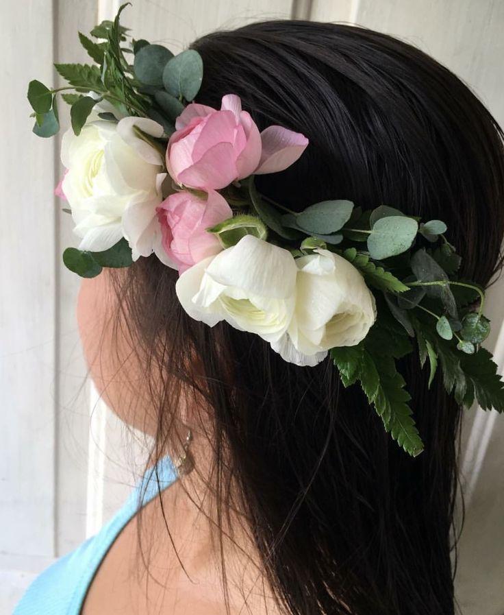 CBP177 weddings riviera Maya light pink and white flower crown / corina con flores blancas y rosa claro