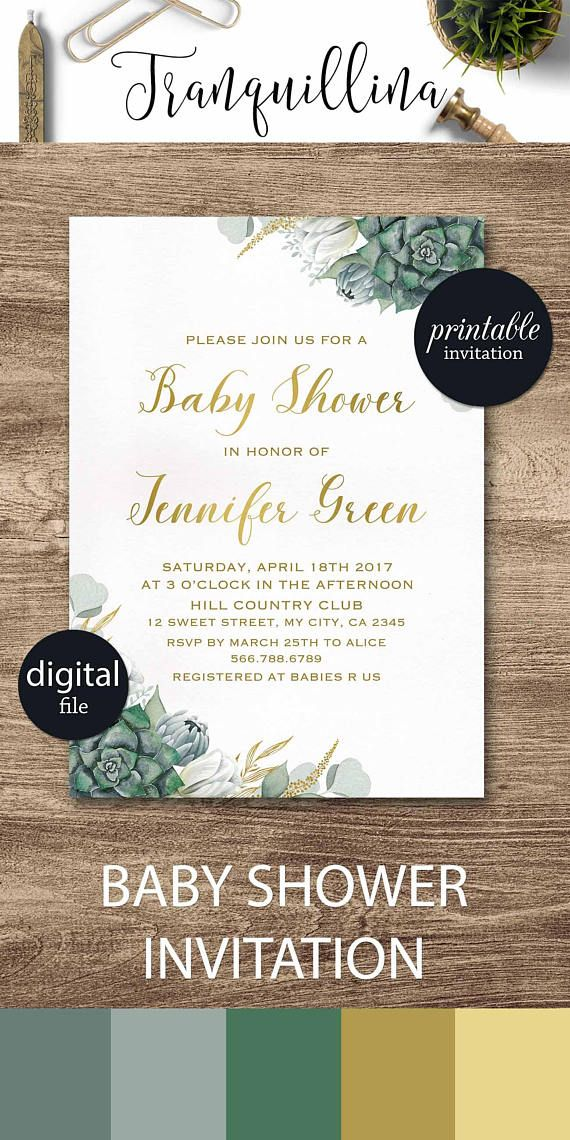 Succulent baby shower invitation floral baby shower invitations succulent baby shower invitation floral baby shower invitations gender neutral green baby shower invites stopboris Gallery