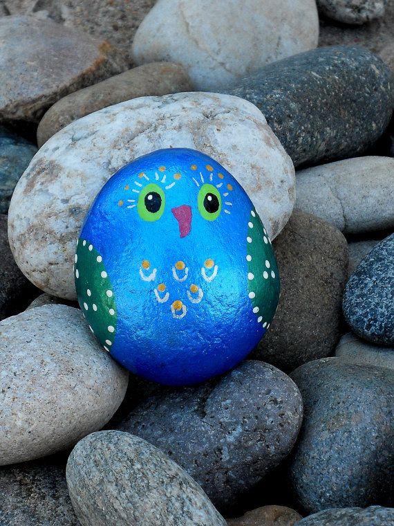 Brilliant metallic blue & green hand painted rock by Livingpebbles