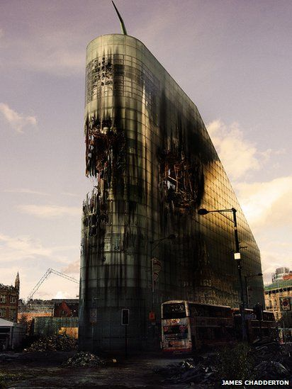 """Manchester Apocalypse: Urbis by James Chadderton. The artist said he imagined a """"human devoid wasteland where the buildings have been left to decay""""."""