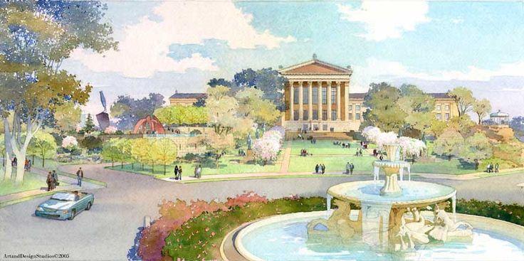 architectural rendering in watercolor - museum sculpture garden