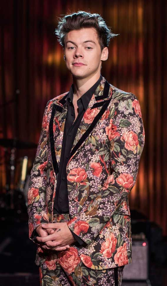 90f5a2039ae Harry Styles pictured at the BBC wearing a stylish floral suit from the  Gucci Cruise 2018 collection – Photo by James Stack © BBC  HarryStyles   Gucci  BBC