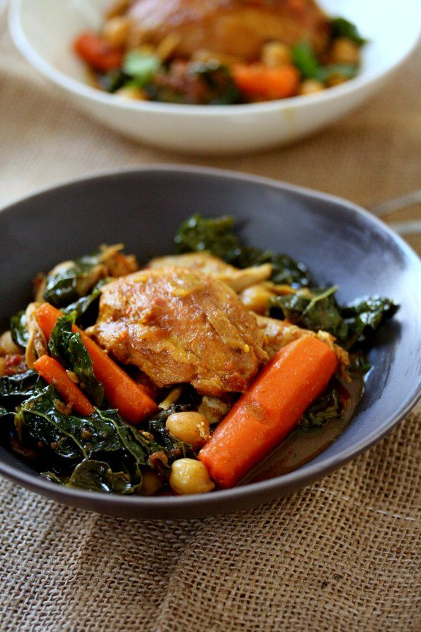Easy Moroccan Chicken Tagine Recipe with Kale, Chickpeas and Carrots ...