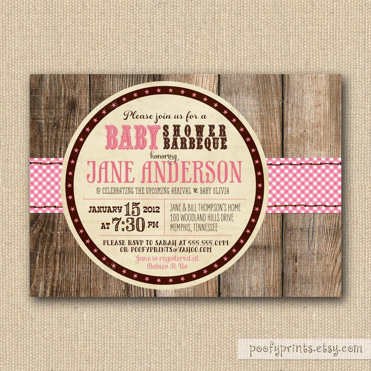 Baby Shower Bbq ~ Bbq baby shower invitations rustic girl