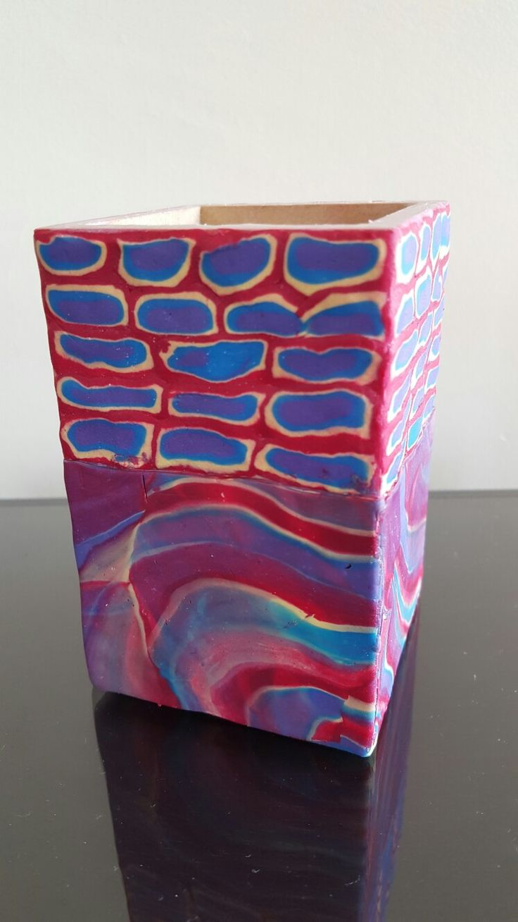 Pencil box covered in Clayologie Polymer Clay