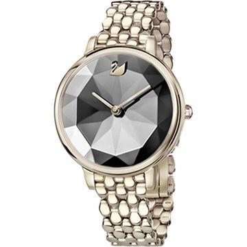Crystal Lake Watch, Metal bracelet, Dark Gray, Champagne-gold tone PVD