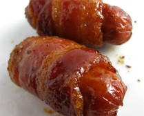 SAUSAGES, Bacon-wrapped with maple & brown sugar glaze.  Perfectly easy for brunch or party appetizer.