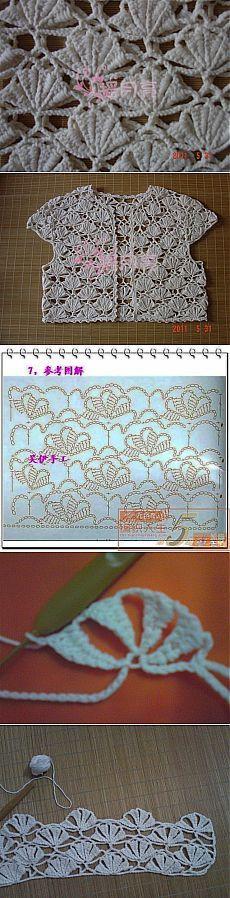 Sweet crochet bolero in an interesting stitch pattern in symbols. Вязание…