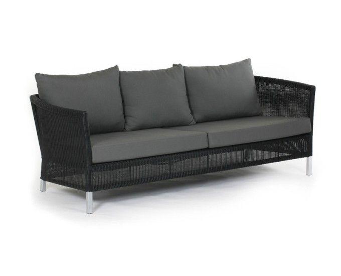 Sofa 3 osobowa czarny technorattan Vallet - Sofy technorattan - Ogrodowy Salon