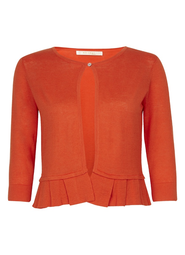 Linen & Cotton Mix Cardigan with Pleated Hem in Vermillion