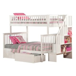 Woodland Staircase Bunk Bed Twin over Full with Flat Panel Bed Drawers in White - Free Shipping Today - Overstock.com - 19787612 - Mobile