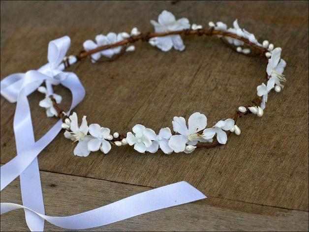 Couronne de fleurs mariage: Neige (blanc)