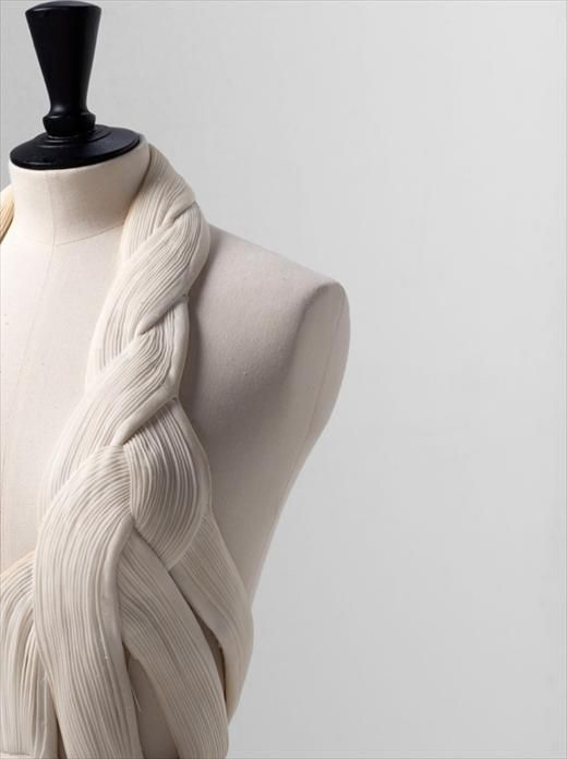 Micro Pleats - structural fabric manipulation for fashion with fine pleated textures and entwined construction - fashion design, couture sewing // Madame Gres