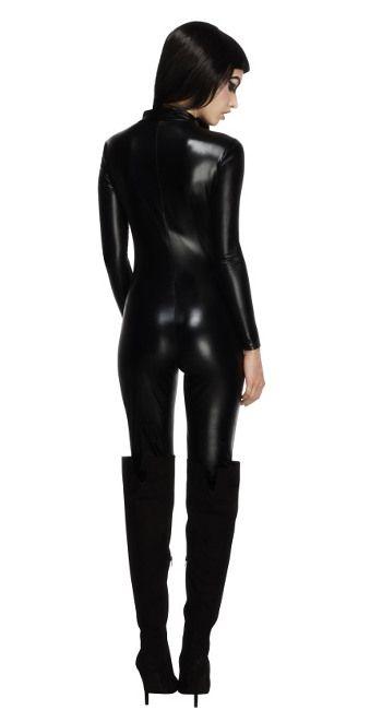 Disfraz de Catwoman con mono negro para mujer