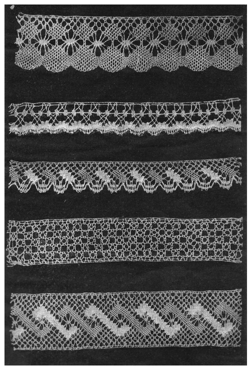 A Collection for Learning Bobbin Lacemaking for Vocational Schools and Workshops Author Ericson, N.J., 1913.  In Russian, but there is little writing.  It is a book of bobbin lace pics with corresponding prickings.