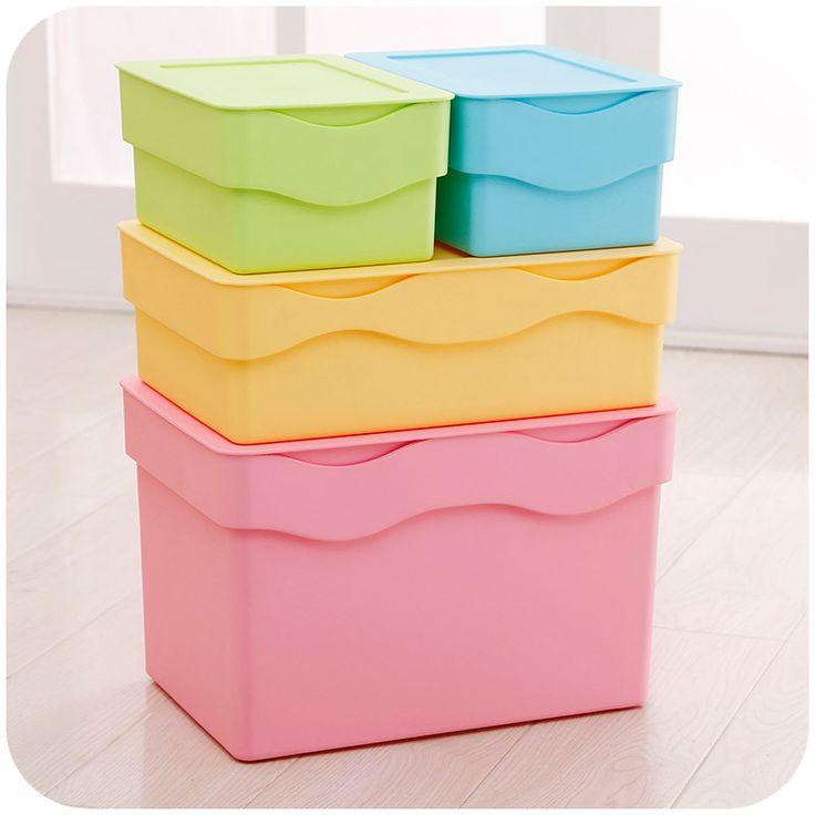 Стекируемые коробка для хранения с крышкой сочетание многофункциональный моющиеся ящик для хранения бардачок K3149