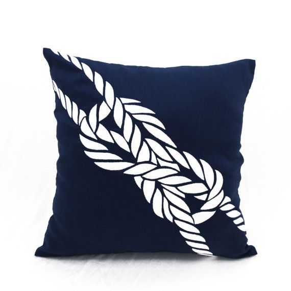 Rope Pillow Cover Sailing Decor Navy Blue Linen Pillow by KainKain