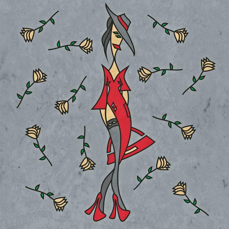 девушка в красном   графика   рисунок   иллюстрация   розы   вектор…