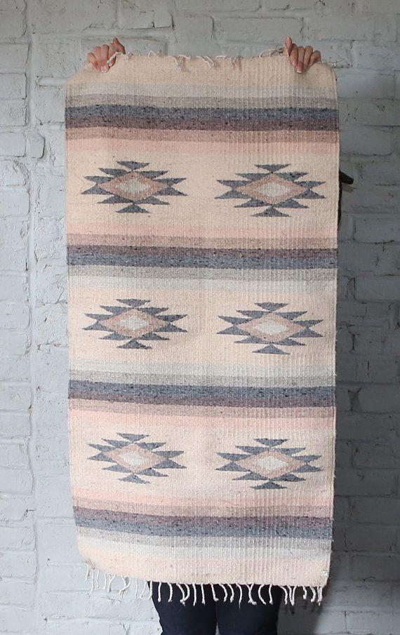 Vintage Southwestern Style Mexican Rug In Pastel U0027Sunsetu0027 Colors   Handmade  Woven Wool Rug