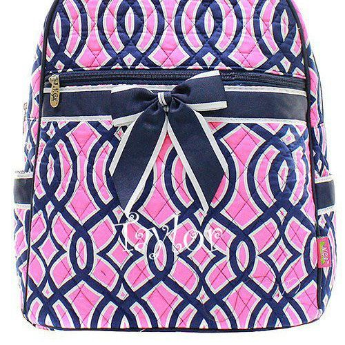 $25 Monogrammed Navy Pink Trellis Backpack Personalized Backpack  Size: 13 L X 6 D X 12 H   *Quilted Vine Backpack  *Zipper Opening  *Front Zipper