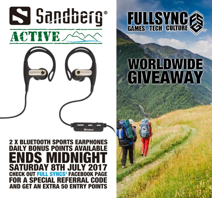 #WIN #GIVEAWAY - @Sandberg ACTIVE WorldWide Giveaway with @FullSyncNetwork 2x BT Sport Earphones