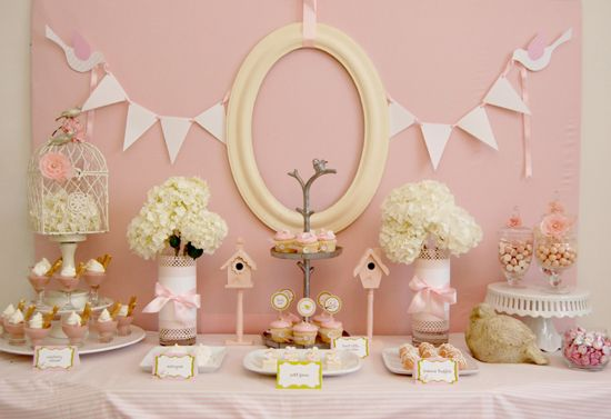 pink baby shower: Shower Ideas, Birds Theme, Shower Decor, Bridal Shower, Baby Girls, Girls Shower, Desserts Tables, Baby Shower